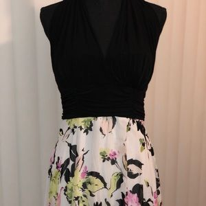 Black and Floral Halter dress